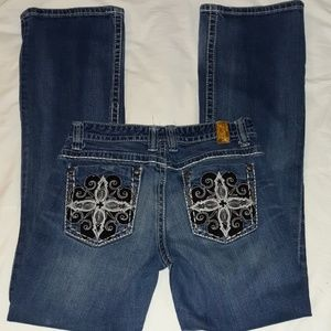 Maurices Thick Stitched Bling Pocket Jeans 7/8